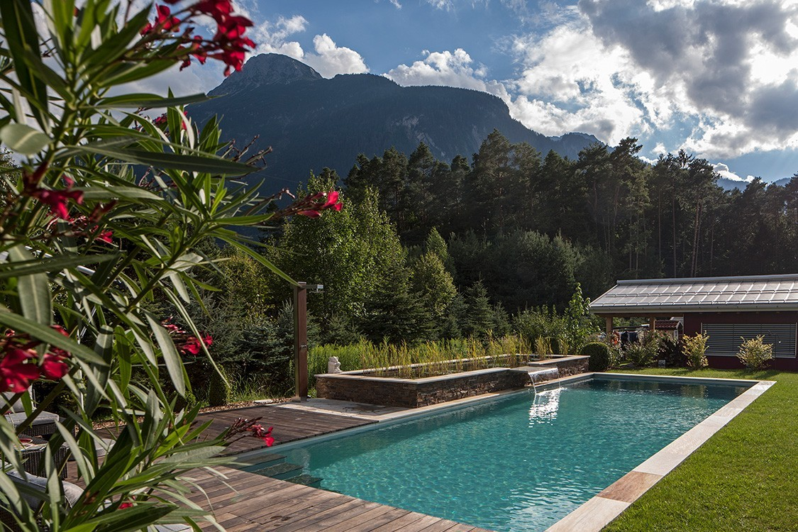 Living Pool in Austria with Stainless Steel Waterfall