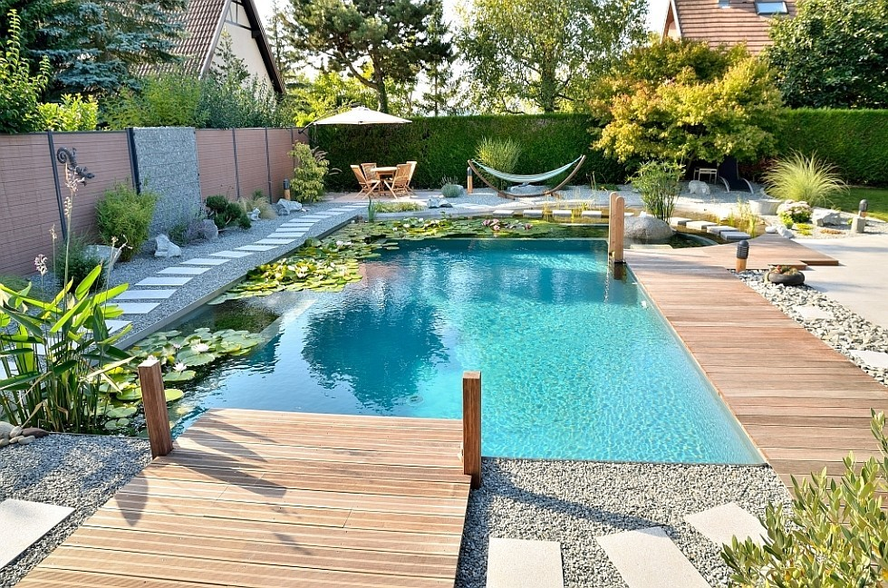 Conversion to natural pool with integrated whirlpool
