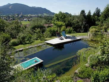 natural pool on a steep slope