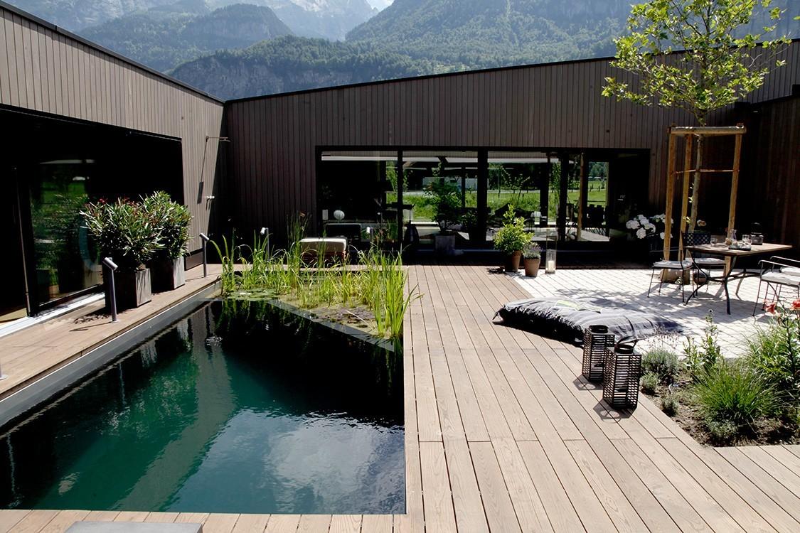 twenty square meter natural pool in switzerland