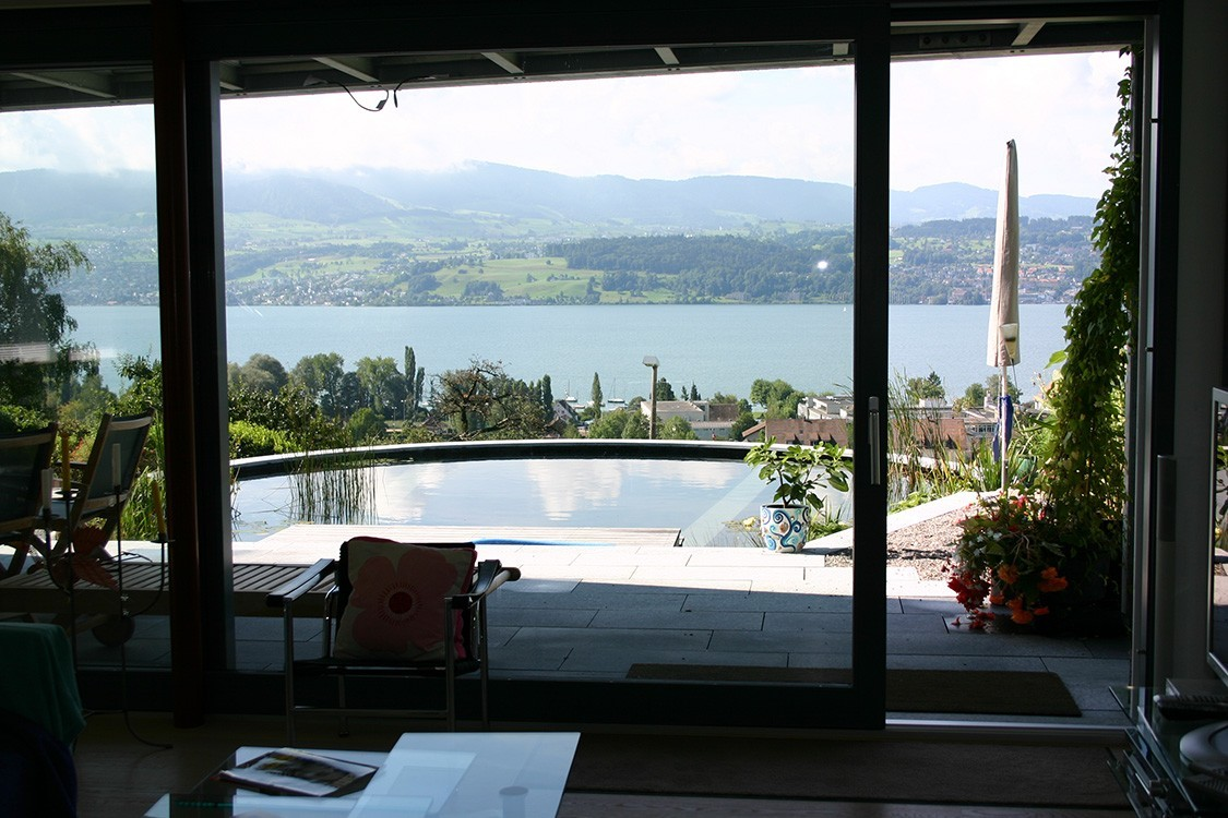 natural pool in Switzerland with view over lake zurich